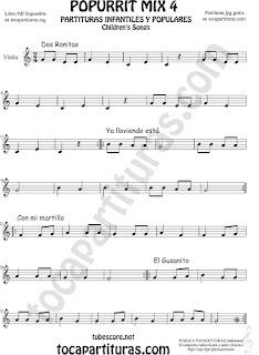 Mix 4 Partitura de Violín Dos Ranitas, Ya lloviendo está, Con mi Martillo, El Gusanito Popurrí Mix 4 Sheet Music for Violin Music Scores Music Score