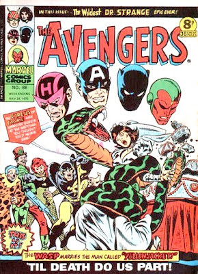 Marvel UK, The Avengers #88, The Wondrous Wasp is attacked by a giant python at her wedding to Yellowjacket