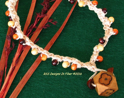 Crochet Choker with Real Wood Beads and Pendant by RSS Designs In Fiber