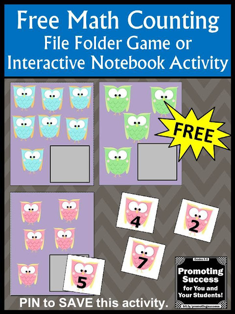 free printable file folder game counting owls