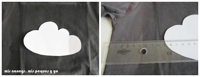 mis nancys, mis peques y yo, tutorial aplique camiseta con pompones, colocar tul y nube