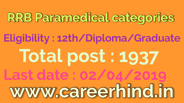 RRB 1937 Paramedical categories govt job recruitment 2019