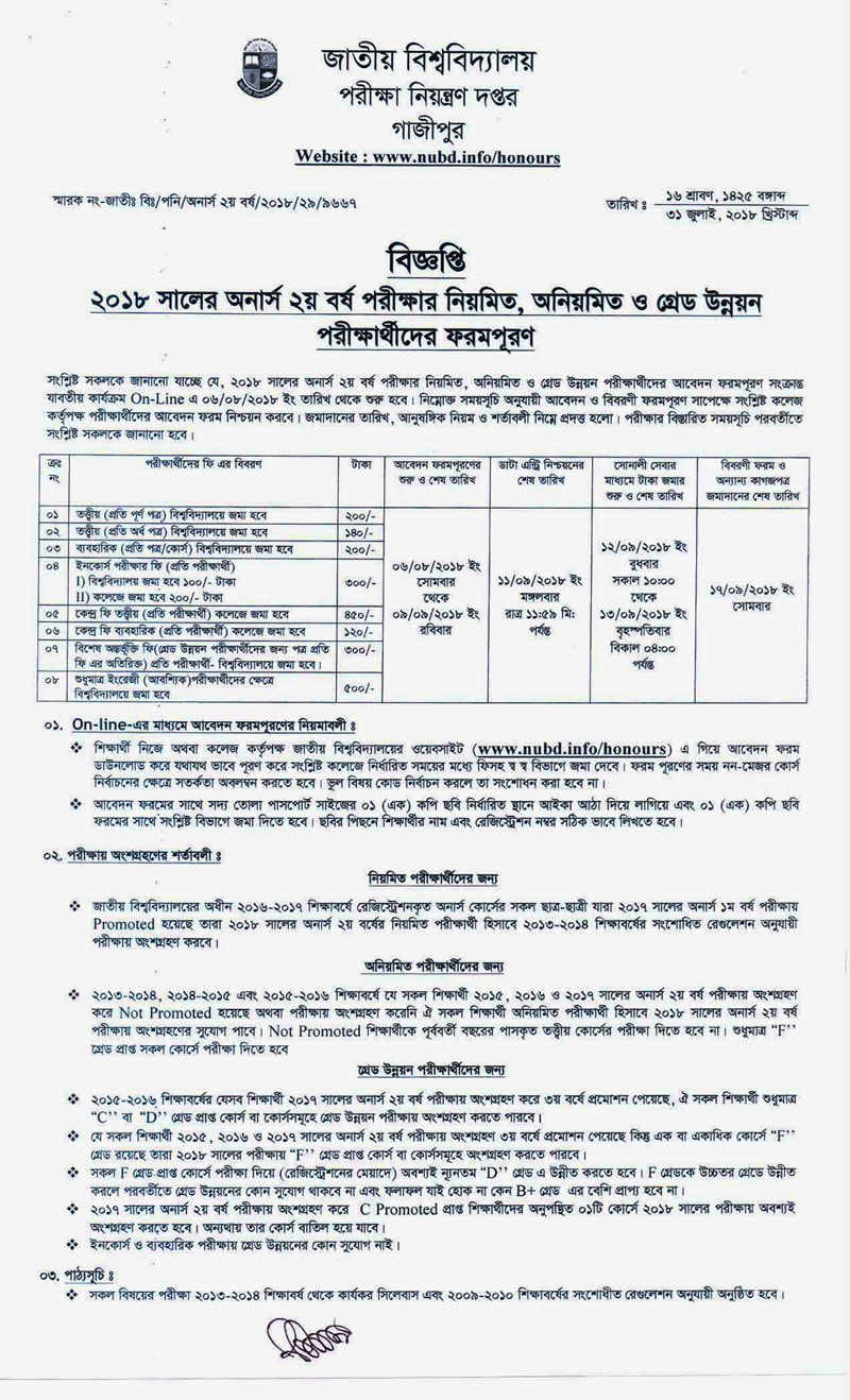 Honours 2nd year form fill up notice 2018