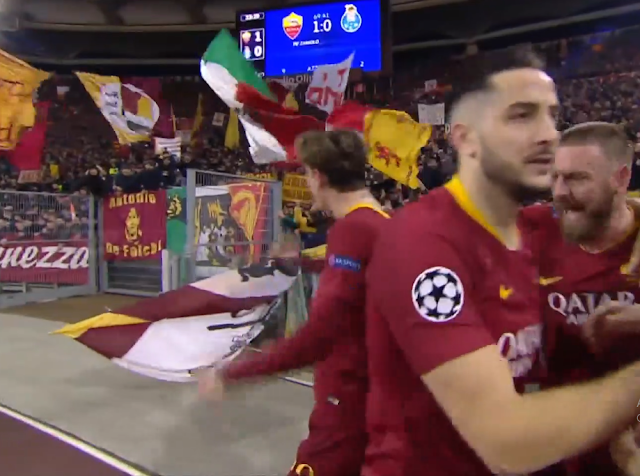 Roma beat Porto 2-1, On Tuesday, in the first leg of the round of 16 of the Champions League football.
