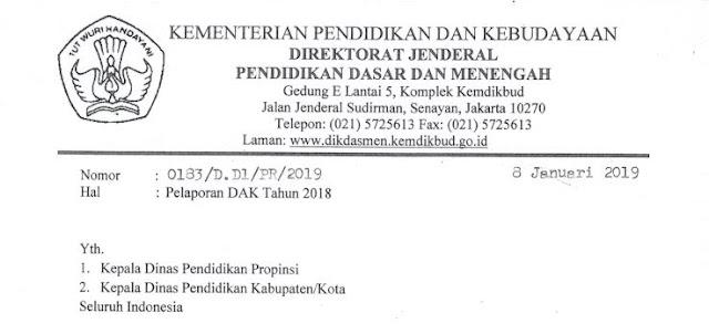 Download Surat Sekretaris Dirjen Dikdasmen Tentang Pelaporan DAK Tahun 2018