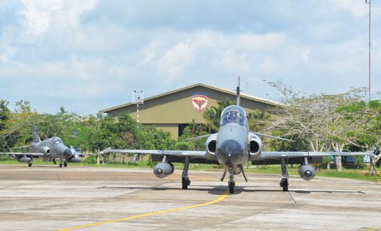 Skadron Udara  Elang Khatulistiwa saat mendarat di Lanud Supadio.  Foto Kapentak TNI AU Supadio