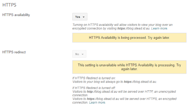 HTTPS availability set to Yes, showing processing info