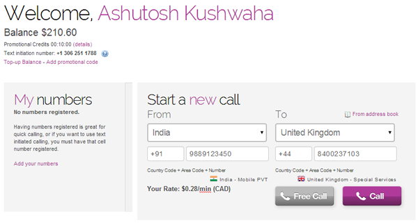 Free number call to india