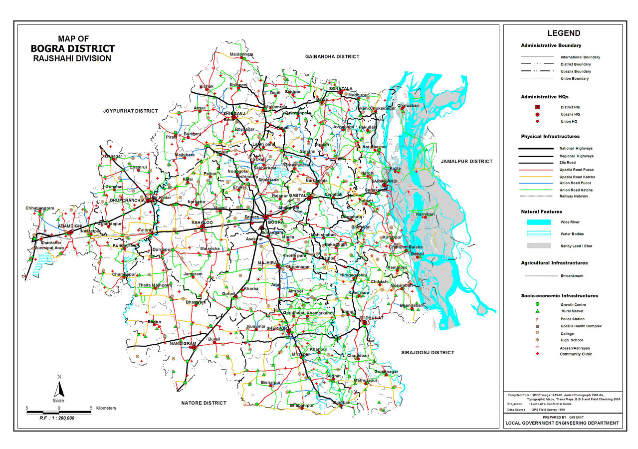 Bogra District Map Bangladesh