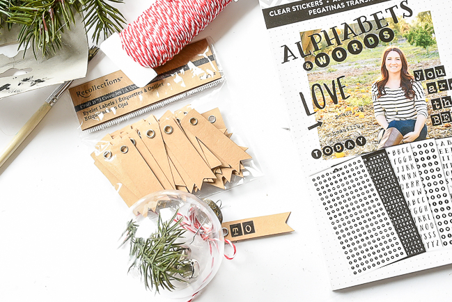 Making gift tag for Dollar Tree ornaments