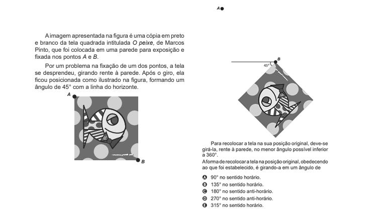 A imagem apresentada na figura é uma cópia em preto e branco da tela quadrada intitulada o peixe...