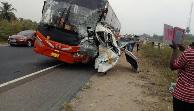 Nsawam: Two dead as VVIP bus crashes into Toyota Hiace at Okanta