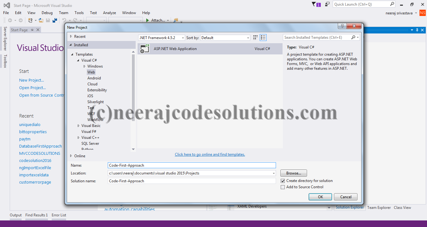entity framework code first approach in mvc with example step by