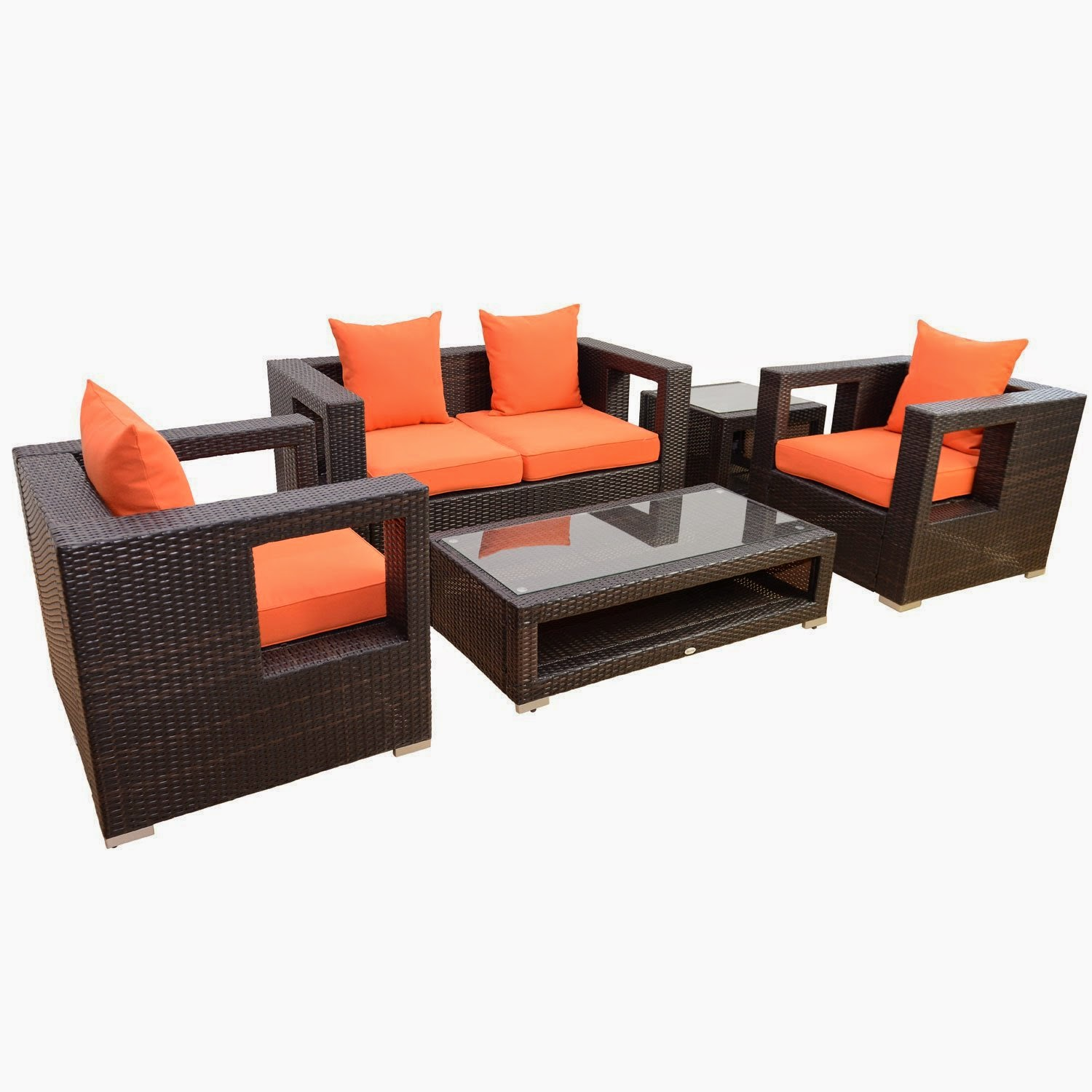get discount outsunny 5pc outdoor pe rattan wicker sectional loveseat sofa set outdoor patio. Black Bedroom Furniture Sets. Home Design Ideas