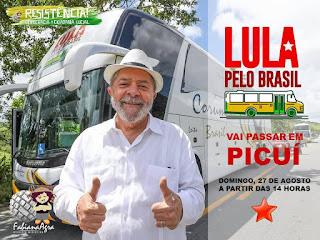 Lula: Caravana do ex-presidente nordestino passará por Picuí neste domingo (27)