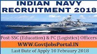 Indian Navy Recruitment 2018 – 38 SSC (Education) & PC (Logistics) Officers