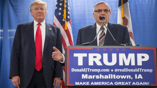 Sheriff Joe Arpaio whips up support for US President Donald Trump after controversial pardon