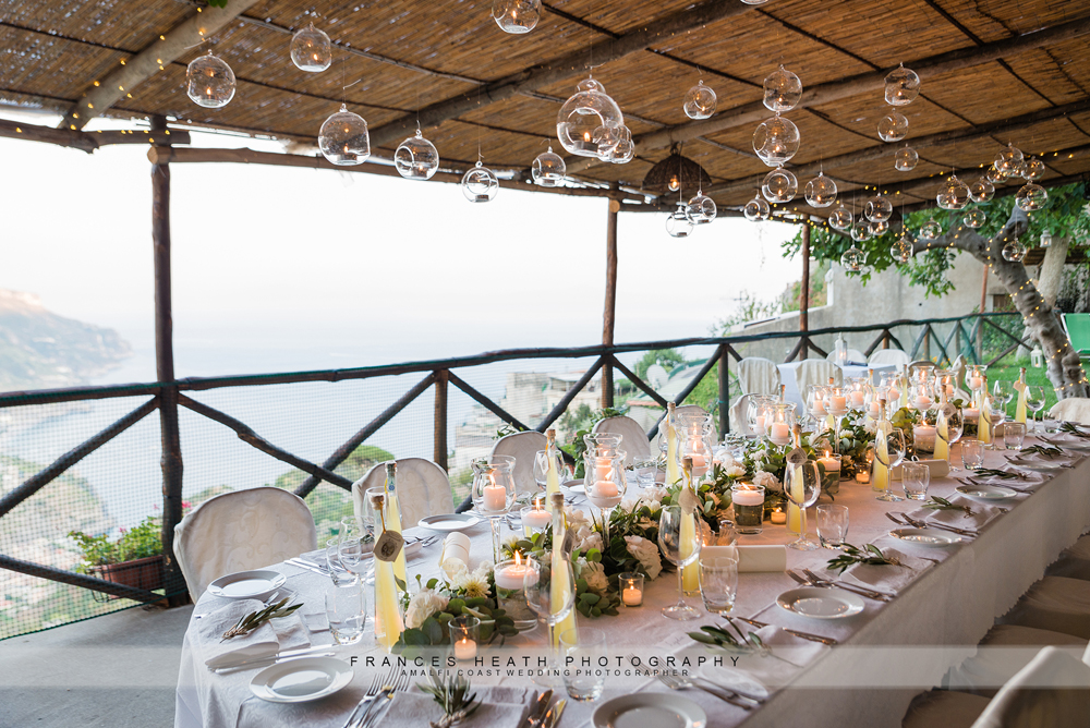 White and green wedding reception in Ravello