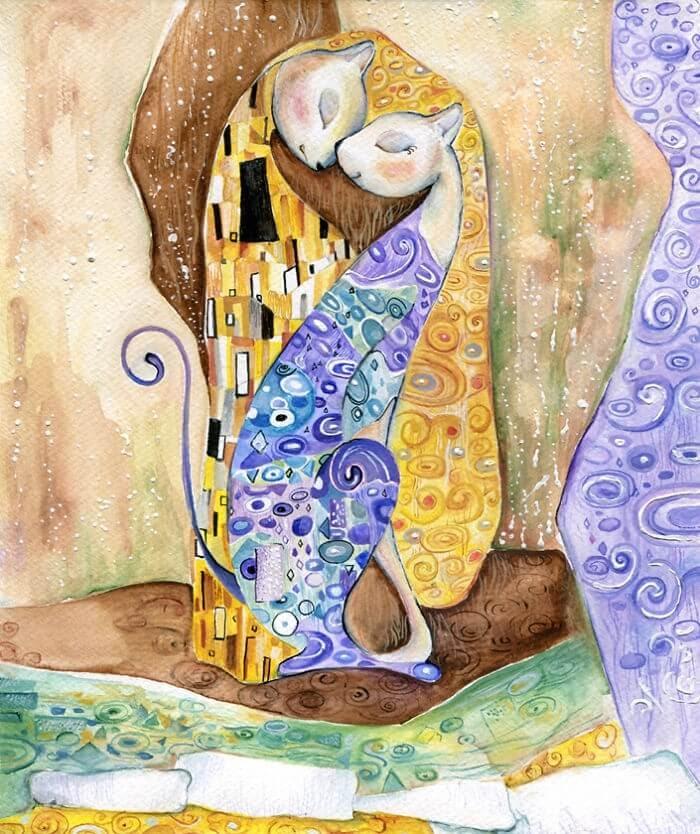 02-Inspired-By-Gustav-Klimt-Veselka-Velinova-Paintings-of-12-Cats-in-Different-Art-Styles-www-designstack-co