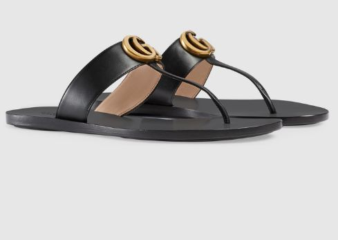 56c230bd62a95 Black Gucci Flip Flop thong sandal for women (Leather thong sandal with  Double G)
