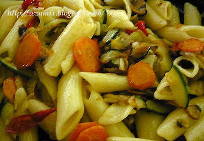 pasta with vegetables for 15 minutes