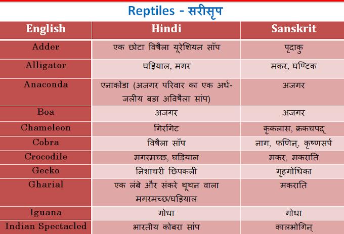 सरीसृप जीव जन्तुओ के नाम, शब्द हिन्दी, संस्कृत और अङ्ग्रेज़ी में - Sarisrip Jeevon Ke Naam - List and Table