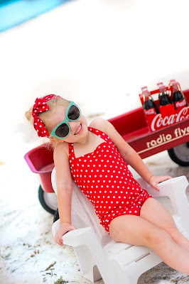 Kids 50's style, retro coca-cola photo shoot. Retro swimsuit and headband. Beach picture ideas. Lilo and Stitch photo shoot