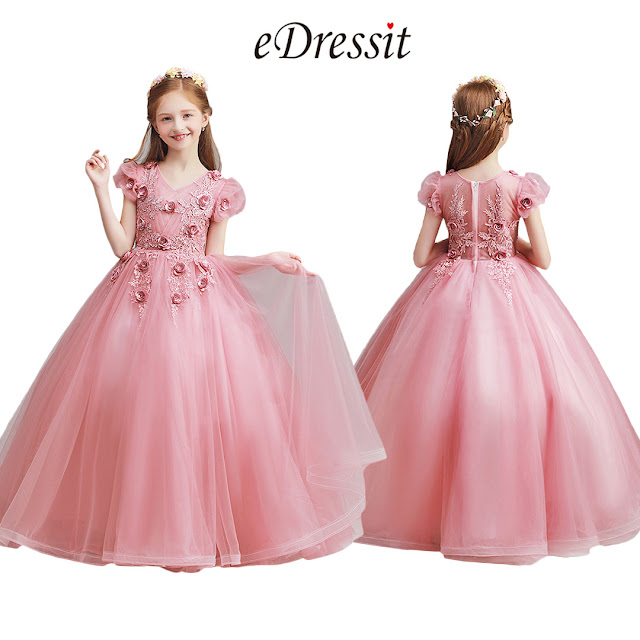 Long Lovely Pink Flower Girl Dress