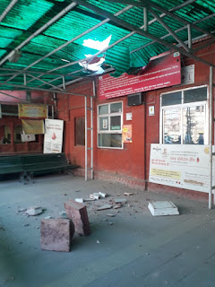 हमीदिया अस्पताल ब्लड बैंक की मीनार गिरी,बाल-बाल बचे लोग