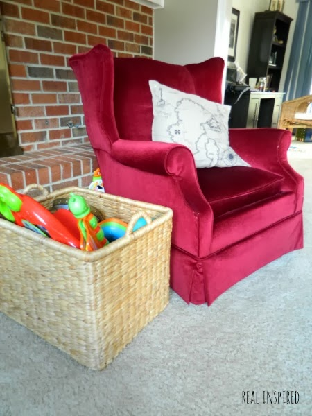 Burgandy Chair gets a Dropcloth Makeover!