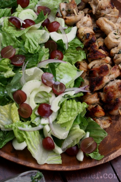 Buttermilk Chicken Kebabs w/ Chopped Salad | www.girlichef.com