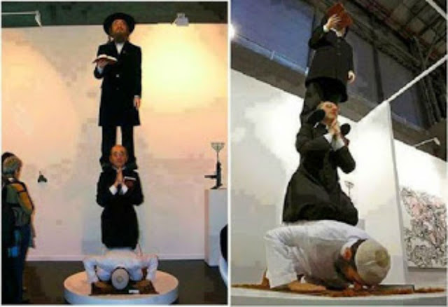بالصور  اهانة للمسلمين تمثال مسلم ومسيحي ويهودي لا حول ولا قوة الا بالله شاهد بالتفاصيل