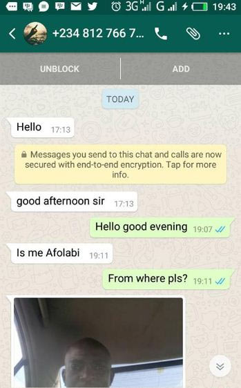 See strange conversation between lady and unknown guy on Whatsapp