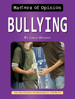 Book cover, 'Matters of Opinion: Bullying' by Carla Mooney. Cropped image depicts the torsos and arms of two male-presenting teenagers. One has shoved the other against school lockers, and reaches to take money from his hand