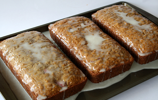 Butter With a Side of Bread: Strawberry Banana Bread with Lemon Glaze