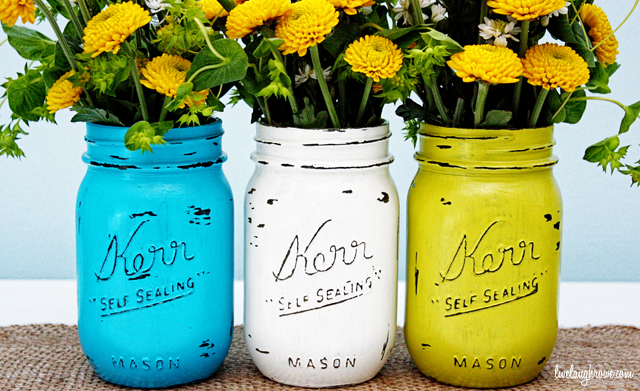 Turquoise Painted Mason Jar 12 Gifts for Gals 30