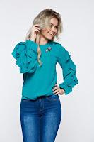 Bluza dama LaDonna turcoaz eleganta cu croi larg cu volanase la maneca