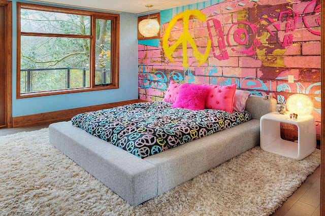Tapet tegelvägg graffiti rosa tegel tapet tjejrum