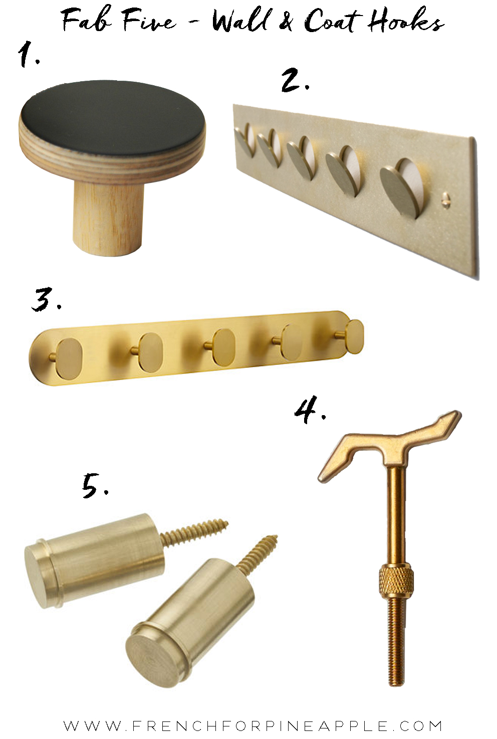 Fab Five Wall And Coat Hooks - French For Pineapple Blog