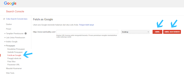 Mempercepat Index Blog dengan Fetch As Google