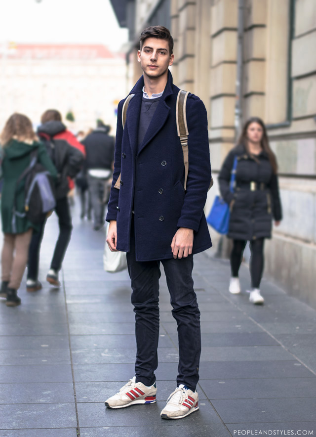 Cute Guy Nice Style Pea Coat and a Backpack casual cold weather men looks, how to wear pea coat, sneakers and backpack, cool mens street fashion by peopleandstyles.com