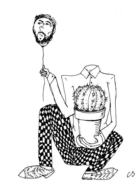 Selbstbildnis mit Kaktus - von Constantin Schwab
