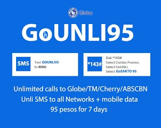 GOUNLI95 – 95 Pesos Globe Promo with Unli Call, All Net texts, 102400KB