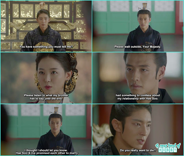 Queen bring Wook and told king wang so he wanted to say something which is very important then wook told his and Hae Soo relation to King Wang So- Moon Lovers Scarlet Heart Ryeo - Episode 19 (eng sub)