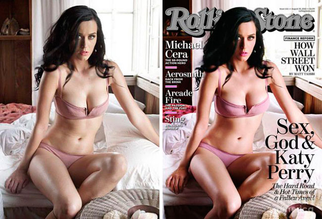 Kate Perry Rolling Stone Magazine Before and After