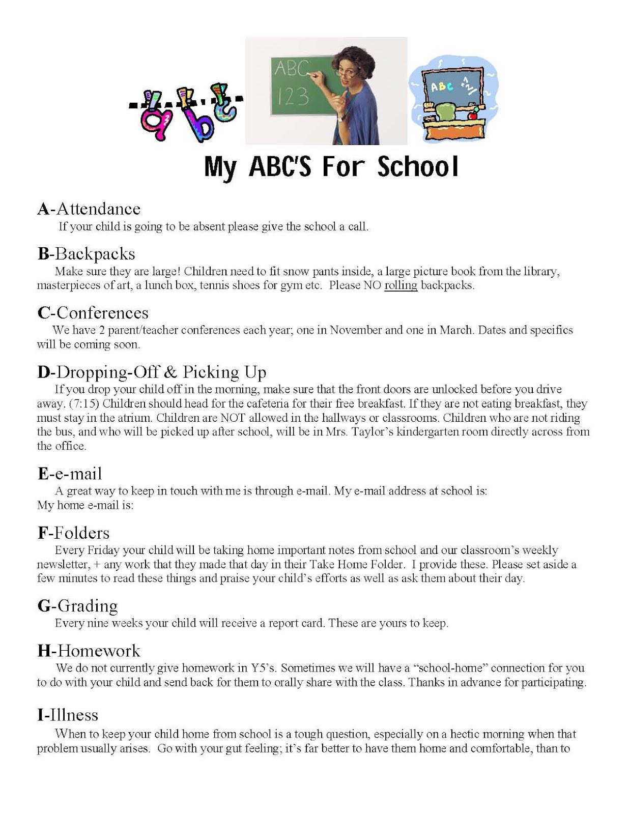 Classroom Freebies My Abc S Of School Information Sheet