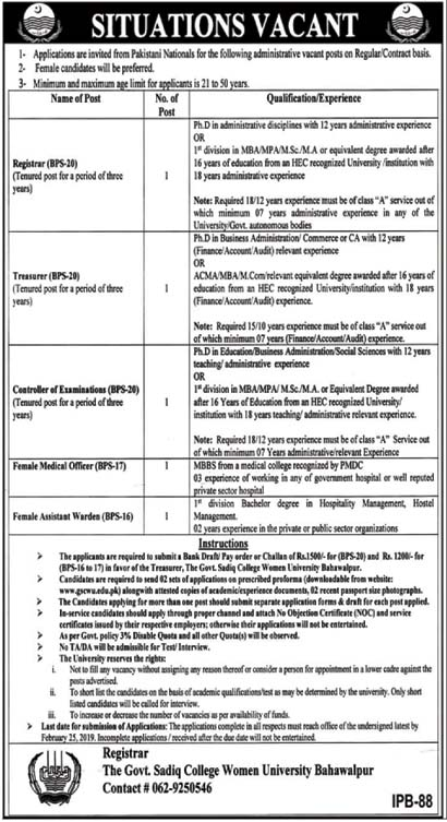 Jobs for Ph.D and Bachelor Qualification in Govt Sadiq College Women University 06 Feb 2019