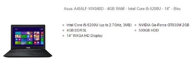harga laptop asus core i5 a455lf biru