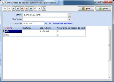 Configuración aviso de falta de stock en el software para taller mecanico