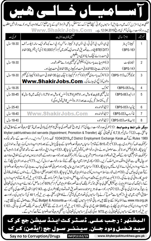 District & Session Judge Karak Jobs 2019 |ShakirJobs| Latest Advertisement